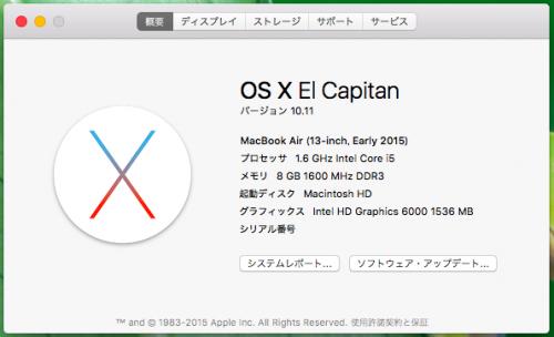 MacBook Airの環境